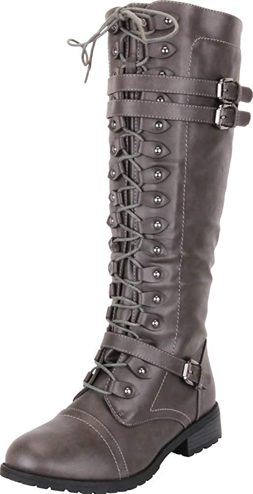 Charcoal Pu Cambridge Select Women's Lace-Up Strappy Knee High Combat Stacked Heel Boot