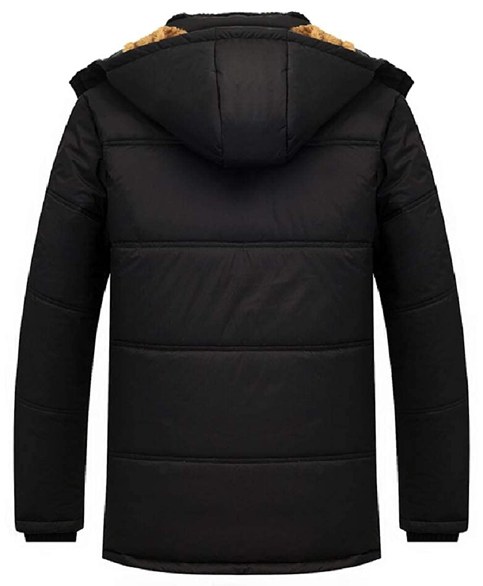FLCH+YIGE Mens Outdoor Winter Thick Padded Hooded Fleece Down Jacket Coat