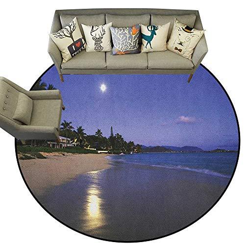 (Hawaiian,Carpet mat Houses Clear Sky Full Moon Reflection at Daybreak on a Hawaii Beach Exotic Life D36 Long Kitchen Mat Bath Carpet )