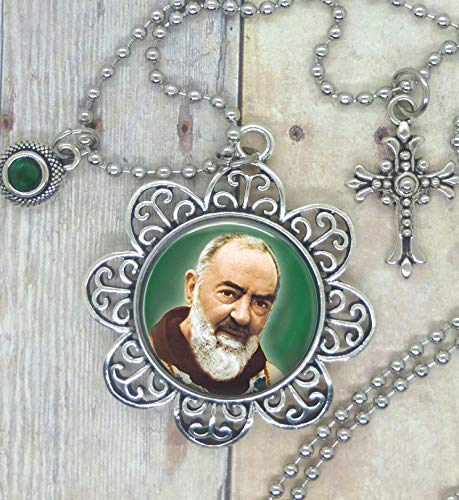 Saint Padre Pio, Patron of Healing, Pain & Suffering. Lovely Image Setting, Adorned with a Healing Green Swarovski Crystal & Pretty Cross, available in a Necklace, Backpack Clip, Keychain, Purse Clip