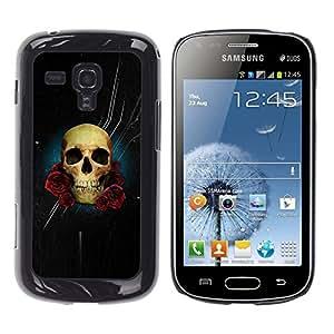 Samsung Galaxy S Duos S7562 , JackGot - Impreso colorido protector duro espalda Funda piel de Shell (Estrellas noche negra del cráneo de Rose Flores)