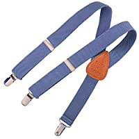 "Clips N Grips Child Baby Toddler Kid Adjustable Elastic Suspenders Y Back Design (26"", Denim Blue)"