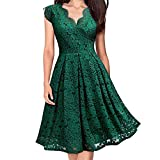 Ximandi Women V-Neck Off Shoulder Lace Formal Evening Party Dress Sleeveless Dress Green