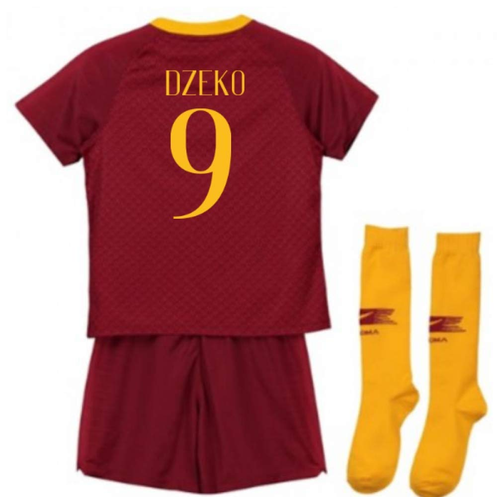 UKSoccershop 2018-2019 AS Roma Home Nike Little Boys Mini Kit (Edin Dzeko 9)