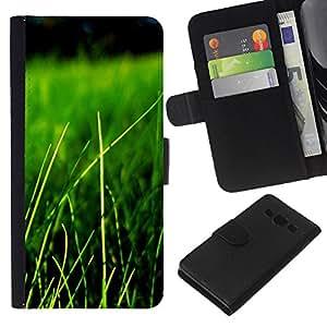 JackGot ( Natura Bella Forrest Verde 84 ) Samsung Galaxy A3 la tarjeta de Crédito Slots PU Funda de cuero Monedero caso cubierta de piel