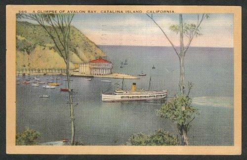 (Avalon Bay Catalina Island CA postcard 1949)