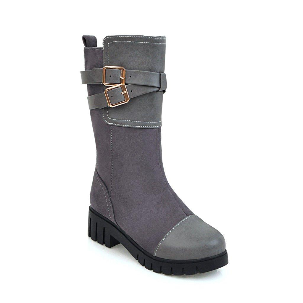 DYF Schuhe Schuhe Schuhe kurze Stiefel rauhe Ferse Dick unten Metall Gürtelschnalle Gurt Grau 40 902911