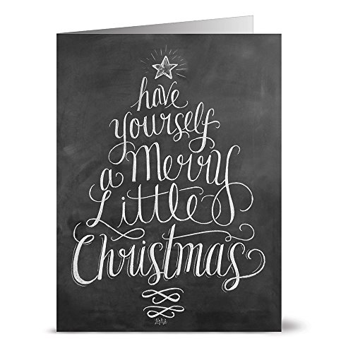 Have Yourself a Merry Little Christmas - 36 Chalkboard Note Cards - Blank Cards - Kraft Envelopes Included