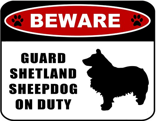 d Sheepdog (silhouette) on Duty 11.5 inch x 9 inch Laminated Dog Sign ()