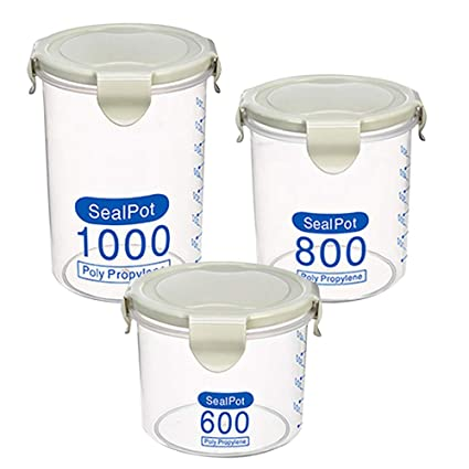233fb43bf Amazon.com: GZQ Pack 3 Food Storage Container Set Kitchen Seal Pot Tank  Boxes Jars BPA Free & Food Grade Plastic for Storage Tea Coffee Candy  Snacks Cookie: ...