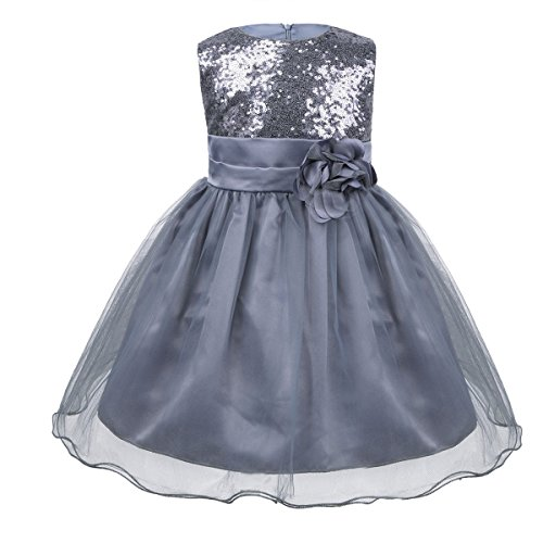 iiniim Baby Girls Sequins Formal Wedding Pageant Birthday Tutu Princess Party Flower Girl Dress Gray 18-24 -