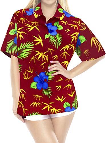 LA LEELA Womens Plus Size Hawaiian Shirt Button Down Aloha Luau Shirt Printed
