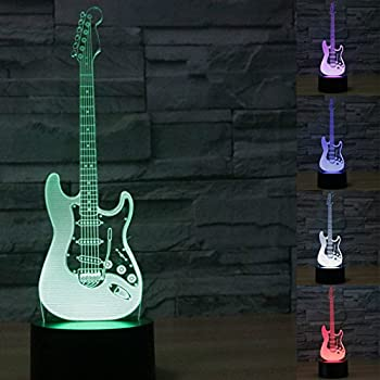 Hand painted ceramic guitar table lamp guitar decor amazon 3d music electric guitar night light touch table desk optical illusion lamps 7 color changing lights home decoration xmas birthday gift aloadofball Image collections