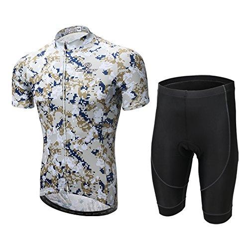 重くする故障兄LSERVER サイクルジャージ 自転車ウェア 半袖 上下セット 男性用 弾性 通気 吸汗 速乾 サイクルウェア スポーツウェア サイクリングウェア