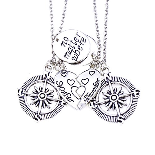 O.RIYA Mother & Daughter No Matter Where Compass Necklaces Set heart , mother daughter necklace set for 2 Half Broken Heart Necklace ,Two Piece Double Necklace Set