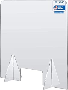 """Sneeze Guard for Counter Freestanding Protective Plexiglass Barrier Clear Acrylic Desk Shield with Transaction Window, Plastic Divider for Office and Stores,(32""""W x 24""""Hx 1/6 inch)"""