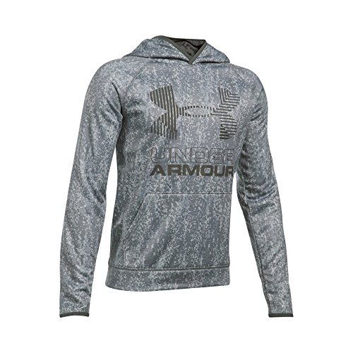 Under Armour Boys SG AF Big Logo Hoodie, Overcast Gray/Graphite, Youth Large (Big Logo Hoodie)
