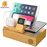 CHGeek Bamboo Wireless Charger-Charging-Station-for-Multiple-Devices, Charging Dock for Apple Watch, AirPods. -Wireless-Charging-Pad Organizer for iPhone, Tablets. Compatible iPhone 11/11 Pro(Max)