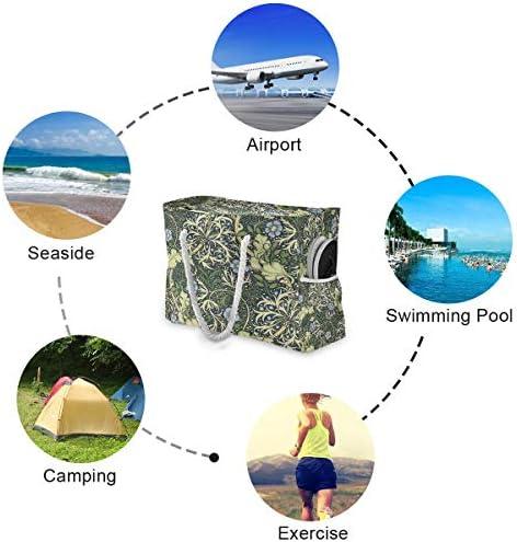 ビーチバッグ ビーチトートバッグ ウィリアム モリス 海藻 プールバッグ ショッピング 軽量 旅行 アウトドア 大容量 トイレタリー 手提げバッグ ピクニック 水泳バッグ 海水浴 温泉 ポケット付き リゾート