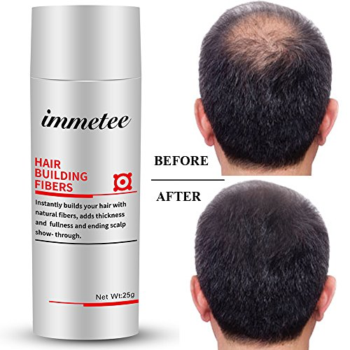 IMMETEE Keratin Hair Building Fibers Powder Conceal Instantly for Thinning Hair,Cover Up Hair Loss Natural Thickens for Men and Women-25g/0.88oz (DARK BROWN) by IMMETEE
