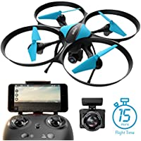 Force1 U49W Blue Heron Drone with Camera Wi-Fi FPV, 15-Min. Flight Time, Altitude Hold, Headless Mode, Bonus Drone Battery, 2 Extra Motors, RC Drone Camera - Drone for Beginners + Photography