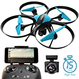 U49W Blue Heron Wi-Fi FPV Drone with Camera Live Video, Altitude Hold, Headless Mode and 15-Min. Flight Time | Force1 Drones with Camera & Bonus Battery Bundle