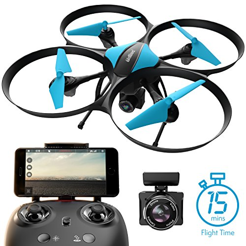 Force1 U49w Blue Heron Drone With Camera Wi Fi Fpv  15 Min  Flight Time  Altitude Hold  Headless Mode  Bonus Drone Battery  2 Extra Motors  Rc Drone Camera   Drone For Beginners   Photography