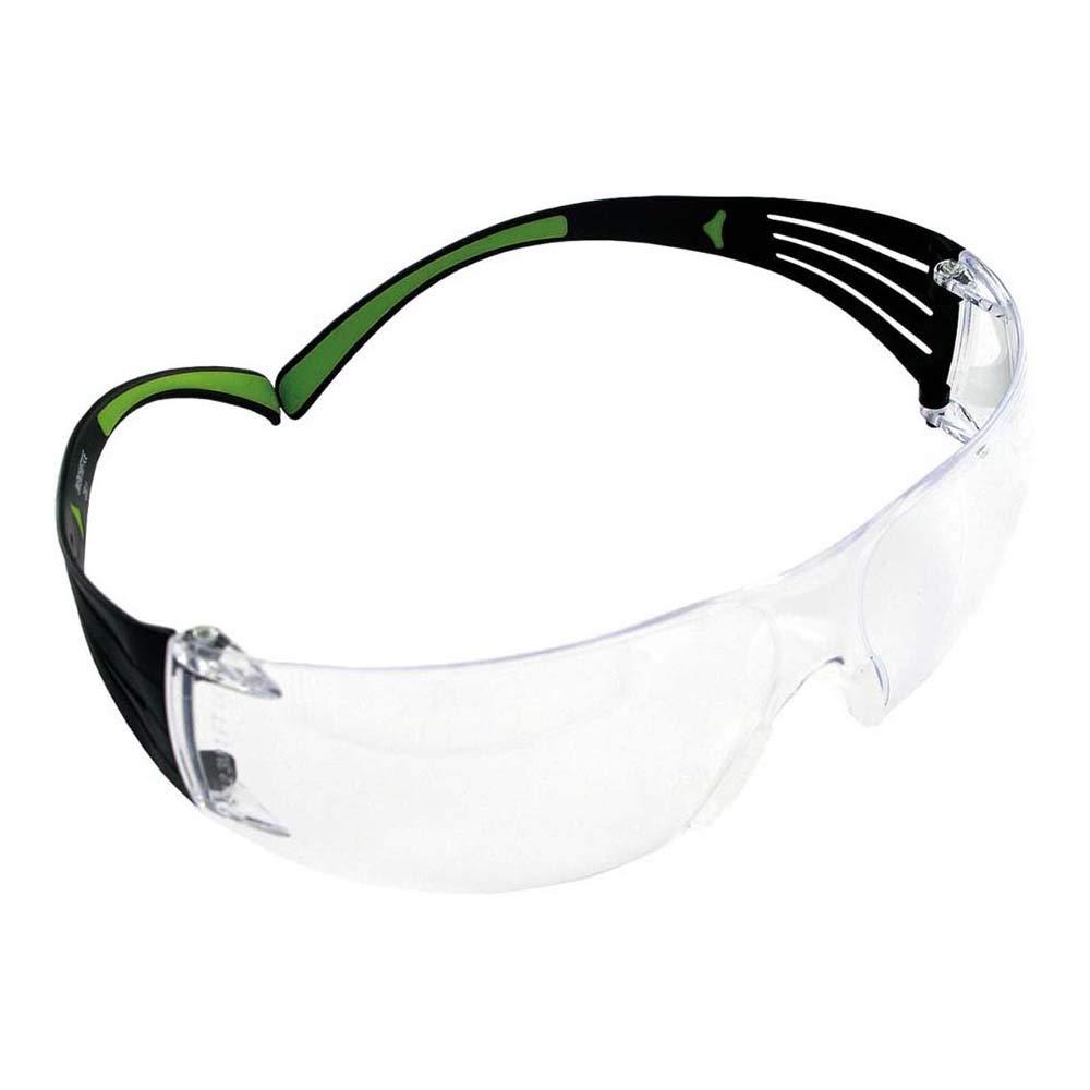 3M SF401AF Gafas de Seguridad, Marco negro/verde, Lente Transparente