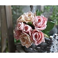 Sisthirth Rose Artificial Bouquet di 9 teste di fiori, decoro vintage di fiori finti di seta per matrimonio, casa, festa