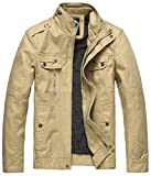 Wantdo Men's Cotton Stand Collar Lightweight Front Zip Jacket US Large Khaki