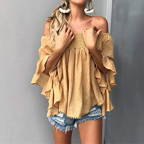 (Women's Printed Shirt, Lady's Sexy Word Collar Summer Wrapped Chest Strapless T-Shirt Female Trumpet Sleeves Loose Printed Shirt Ladies' Clothes,Yellow,S)