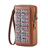 HAWEE Cellphone Wallet Dual Zipper Wristlet Purse with Credit Card Case/Coin Pouch/Smart Phone Pocket Soft Leather for Women or Lady, Woven Linen Brown