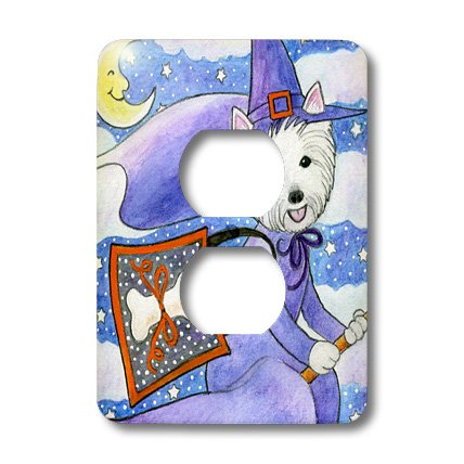 [3dRose lsp_23301_6 West Highland Terrier Westie Westie in Costume Witch Halloween Halloween Westie Dog 2 Plug Outlet Cover] (Westies In Costumes)