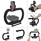 Hydra Stabilizer DC+DV 2-Hand Holder Camera Steadycam Mount Hand Grip Bracket Low Position Shooting Rig w/ 3 Axis Hot Shoe Compatible for Gopro SJCAM Garmin Virb + Sony Nikon Canon DSLR Cameras