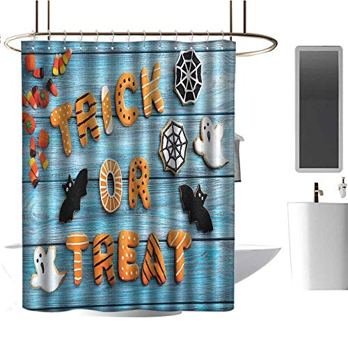 TimBeve Waterproof Fabric Shower Curtain Vintage Halloween,Trick or Treat Cookie Wooden Table Ghost Bat Web Halloween,Blue Amber Multicolor,Washable, Odorless, Eco-Friendly,for Bathroom -
