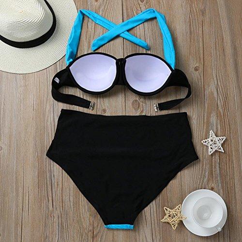 Covermason Mujer Push-up Acolchado Bra Bikinis Alta Cintura Cabestro Trajes de Baño Azul Claro