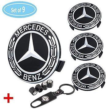 Mercedes Auto Parts >> Fubai Auto Parts 4 Pack For Benz Wheel Center Caps Emblem Black 75mm Benz Rim Hub Cover Logo 4 Pack Valve Covers Fit For Mercedes Benz All Models