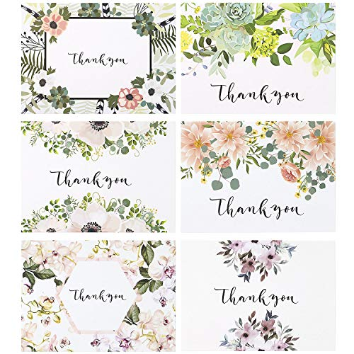 Thank You Cards: Vintage Floral Bulk Set of Blank Note Cards for Wedding, Bridal or Baby Shower, Teacher, Birthday Card, Business Notes and More - Assorted Pack with Envelopes and Cute Stickers Inside Photo #1