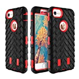 iPhone 7 Case,TACOO Flexible TPU and Hard PC Dual Layer Heavy Duty Protection Extra Durable Rugged Anti-Slip Grip [Shockproof Bumper] Slim Fit for iPhone 7 4.7Inch 2016 Release-Red