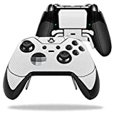 MightySkins Protective Vinyl Skin Decal for Microsoft Xbox One Elite Wireless Controller case wrap cover sticker skins White Carbon Fiber