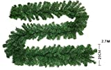 Kyerivs 9Ft Pre-Lit Christmas Garland with Warm White 40-Led Light Artificial Wreath Fireplace Xmas Tree Decoration, Gold, 270cm