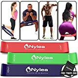 """Nylea 3 Pack Resistance Exercise Workout Bands [Free Travel Bag] 12"""" Latex [Ultimate Fitness Set]"""