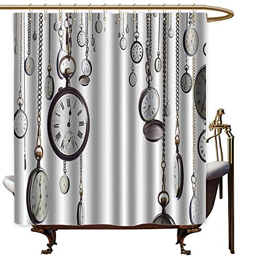 Polyester Fabric Shower Curtain,Antique Decor Collection Many Old Style Pocket Watch on Chain Clocks Chronometer Hours Antique Image,Shower Hooks are Included,W36x72L,White Grey Antique White Pocket Watch