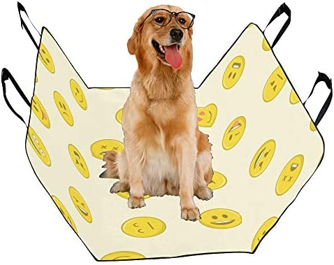 JTMOVING Fashion Oxford Pet Car Seat Smiley Cartoon Card Love Cure Childlike Expression Pack Circle Waterproof Nonslip Canine Pet Dog Bed Hammock Convertible for Cars Trucks SUV