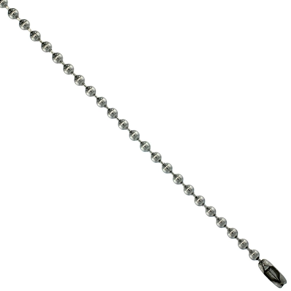 Stainless Steel Bead Ball Chain 2.5 mm thick, Necklaces Bracelets & Anklets Sabrina Silver