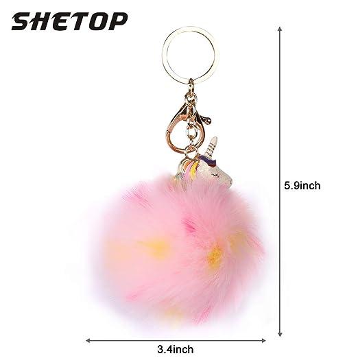 Amazon.com: SHETOP llavero de piel, pelota de pelo esponjoso ...
