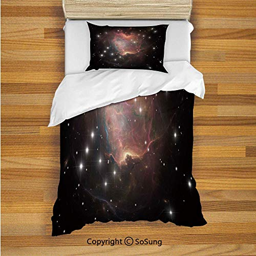 - SoSung Constellation Kids Duvet Cover Set Twin Size, Deep Down in Outer Space Complex Supernova Phenomenal Dynamic Universe Image 2 Piece Bedding Set with 1 Pillow Sham,Multicolor