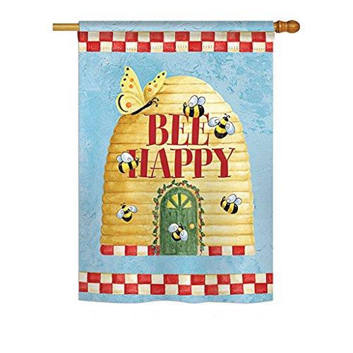 Bee Happy Hive Garden Flag