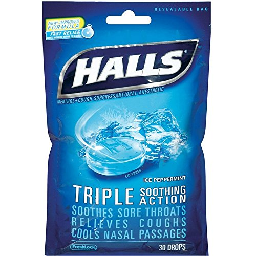 Halls Mentho-Lyptus Drops, Ice Peppermint 30 ea (Pack of 12)