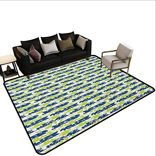 (Superior Hall Carpet Floral,Stripes with Nature Blossom Silhouettes Coming of The Spring Theme, Navy Blue and Apple Green)